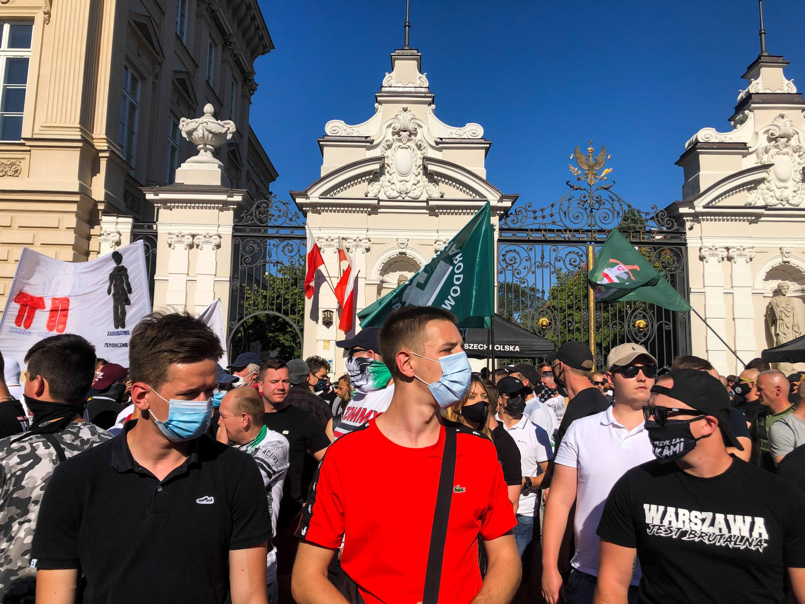 """Supporters of a far-right party staged a protest using the slogan """"Stop the LGBT aggression"""" outside Warsaw University, chanting slogans and burning a rainbow flag."""