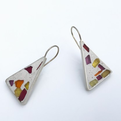 Silver earrings inlaid with glass and Jesmonite