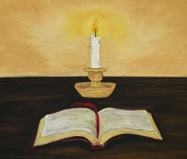 Candle and Bible oil painting by Natalie Buske Thomas