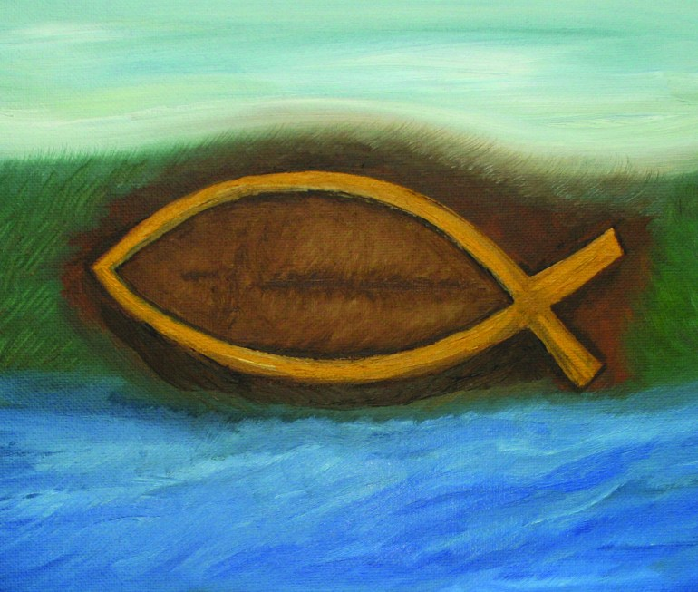Ichthys oil painting by Natalie Buske Thomas