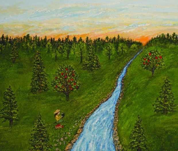 Trees and Stream oil painting by Natalie BuskeThomas