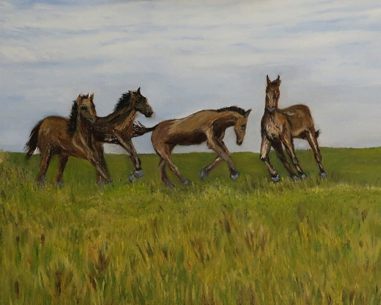 Wild Horses oil painting by artist Natalie Buske Thomas Dec 20 2020