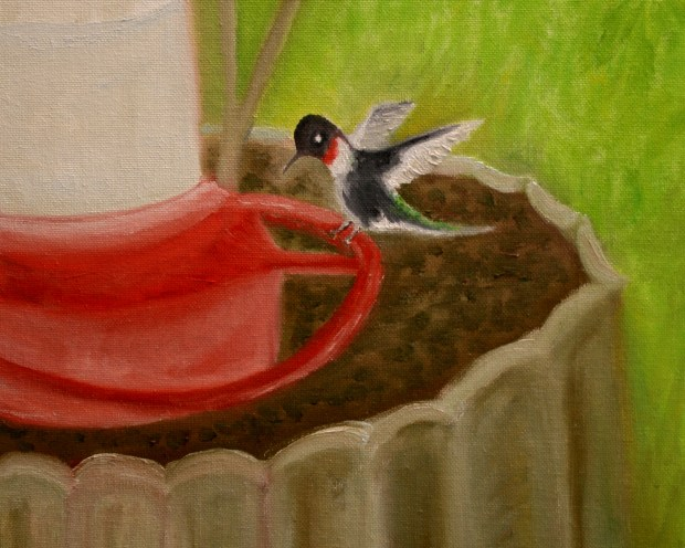 Oil Painting For Book 8x10 Hummingbird at the Feeder by Natalie Buske Thomas