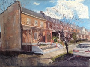 "House Portrait in Oil Painting: ""113 South Mulberry Street"" Oil on Canvas, 18"" x 24"""