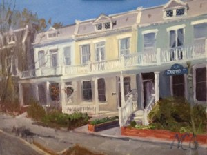 "House Portrait in Oil Painting: ""3002 Floyd Ave"" Oil on Canvas, 18"" x 24"""