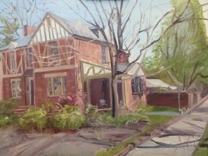 """House Portrait in Oil Painting: """"4200 Park Ave"""" Oil on Canvas, 18"""" x 24"""""""