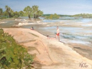 """Original Oil Painting-Scenes of Richmond:""""Bathers on the Rocks on Belle Isle"""" Oil on Canvas, 18"""" x 24"""""""