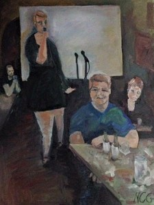 "Original Oil Painting-People and Portraits: ""Chelsea Sings Karaoke"" Oil on Canvas 18"" x 24 """