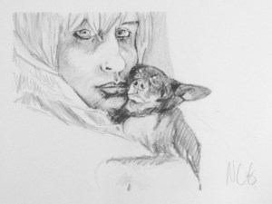"Original Drawing: ""Chelsea and Freak"" Graphite on Paper, 12"" x 16"""