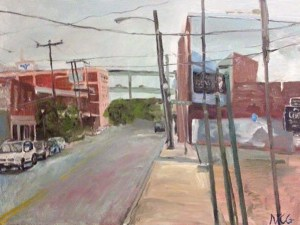 "Original Oil Painting-Scenes of Richmond: ""Lombardy Street Downtown"" Oil on Canvas, 18"" x 24"""