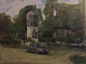 "Original Oil Painting-Scenes of Richmond: ""Maury Statue on Monument"" Oil on Canvas, 18"" x 24"""