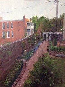 "Original Oil Paintings: ""Monument Avenue Garden"" Oil on Canvas, 24"" x 18"""