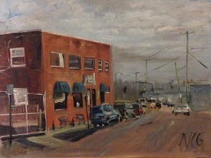"""Original Oil Painting-Scenes of Richmond: """"Moore Street Cafe"""" Oil on Canvas, 18"""" x 24"""""""
