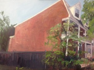 """Original Oil Paintings: """"Museum District House with a Dog"""" Oil on Canvas, 18"""" x 24"""""""