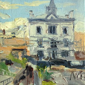 """Original Oil Painting-Scenes of Richmond: """"Restoration Project at the VMFA"""" oil on canvas, 4"""" x 4"""""""