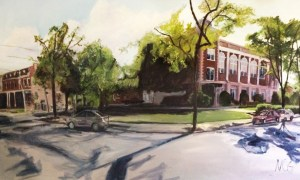"Original Oil Painting-Scenes of Richmond: ""Robert E Lee School and Chiocca's"" Oil on Canvas, 36"" x 60"""