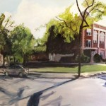 """Original Oil Painting-Scenes of Richmond: """"Robert E Lee School and Chiocca's"""" Oil on Canvas, 36"""" x 60"""""""