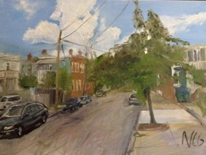 "Original Oil Paintings-Scenes of Richmond: ""Street Where the Artist Lives"" Oil on Canvas, 18"" x 24"""