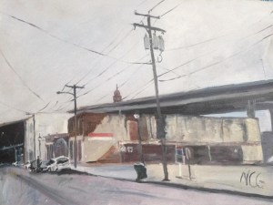 """Original Oil Painting-Scenes of Richmond: """"View of the Bottom on a Cloudy Day"""" oil on canvas, 18"""" x 24"""""""