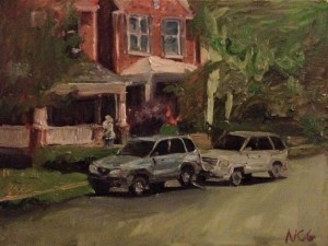 "Original Oil Painting-Scenes of Richmond: ""Woman Mowing the Lawn"" Oil on Canvas, 18"" x 24"""