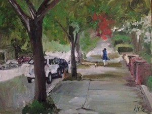 """Original Oil Paintings-Scenes of Richmond: """"Woman Walking a Dog"""" Oil on Canvas, 18"""" x 24"""""""