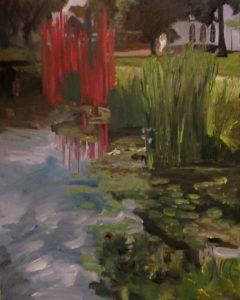"""Original Oil Painting: """"Chihuly Statue and Water Lilies at the VMFA"""" Oil on Canvas, 30"""" x 24"""""""