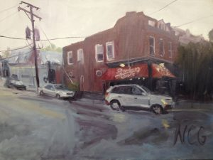 """Original Oil Painting-Scenes of Richmond: """"Bamboo Cafe in a Summer Evening Storm"""" Oil on Canvas, 18"""" x 24"""""""
