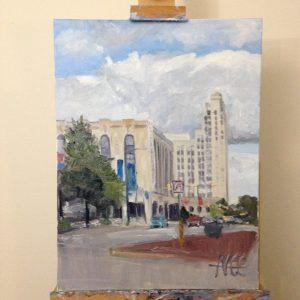 "View of Original Oil Painting: ""Miller and Rhoads"" on the Artist's easel"