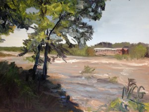 """Original oil painting-Scenes of Richmond: """"Muddy James River at Belle Isle"""" 18""""x24"""""""