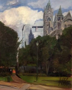 "Original Oil Painting: ""Old City Hall and Reflection"" Oil on Canvas, 30"" x 24"""