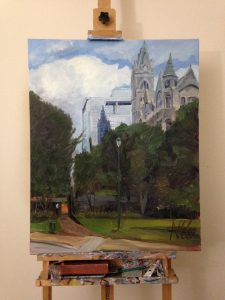 "View of original oil painting ""Old City Hall and Reflection"" on the artist's easel"