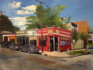 "Original Oil Painting-Scenes of Richmond: ""China Panda, Devil's Triangle"" Oil on Canvas, 30""x40"""
