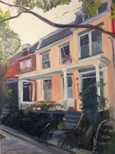 """House Portrait in Oil Painting: """"House on Park Avenue"""" Oil on Canvas, 24"""" x 18"""""""