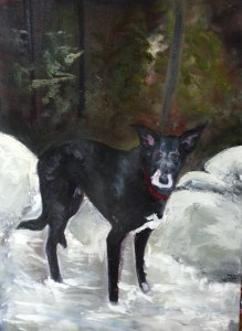 "Original Oil Painting-Pet Portraits: ""Lilly Dog on the Rocks"" Oil on Canvas, 20"" x 16"