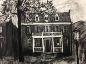 "Original drawing-house portrait: ""3311 Franklin Street"" charcoal on paper, 19""x22"""