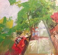 """Original Oil Painting-Scenes of Richmond: """"Grove and Davis"""" Oil on Canvas, 18"""" x 24"""""""