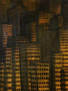 """Original Oil Painting: """"Untitled Cityscape in Yellow"""" Oil on Canvas 48""""x 36"""""""
