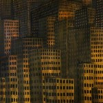 "Original Oil Painting: ""Untitled Cityscape in Yellow"" Oil on Canvas 48""x 36"""