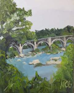 This is an original oil painting of the train bridge over the James River seen from Riverside Drive in Richmond VA