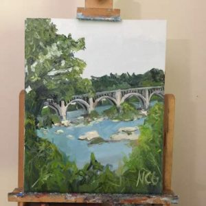 "This photo shows ""Bridge Over the James"" on the artist's easel"