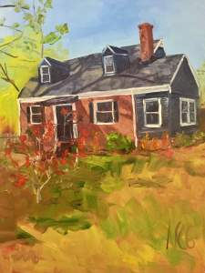 "Original Oil Painting by Natalie Colleen Gates: ""Lakeside House"""