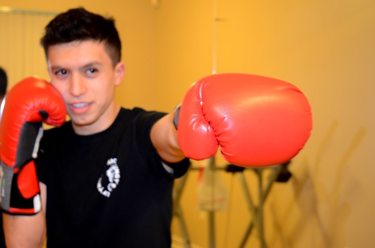 BRADFORD, ON – JANUARY 28 – Salvatore Severino practices kickboxing in his basement. This room is dedicated to fitness which is why he likes to practice here.