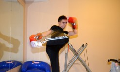 BRADFORD, ON – JANUARY 28 – Salvatore Severino practices kickboxing in his basement. This room is dedicated to fitness which is why he likes to practice here. He continuously kicked upward until he switched to a punching motion.