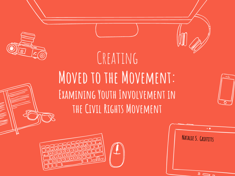 """Doodle of a computer desk with a mouse and other electronics. States """"Creating Moved to the Movement: Examining Youth Involvement in the Civil Rights Movement"""""""