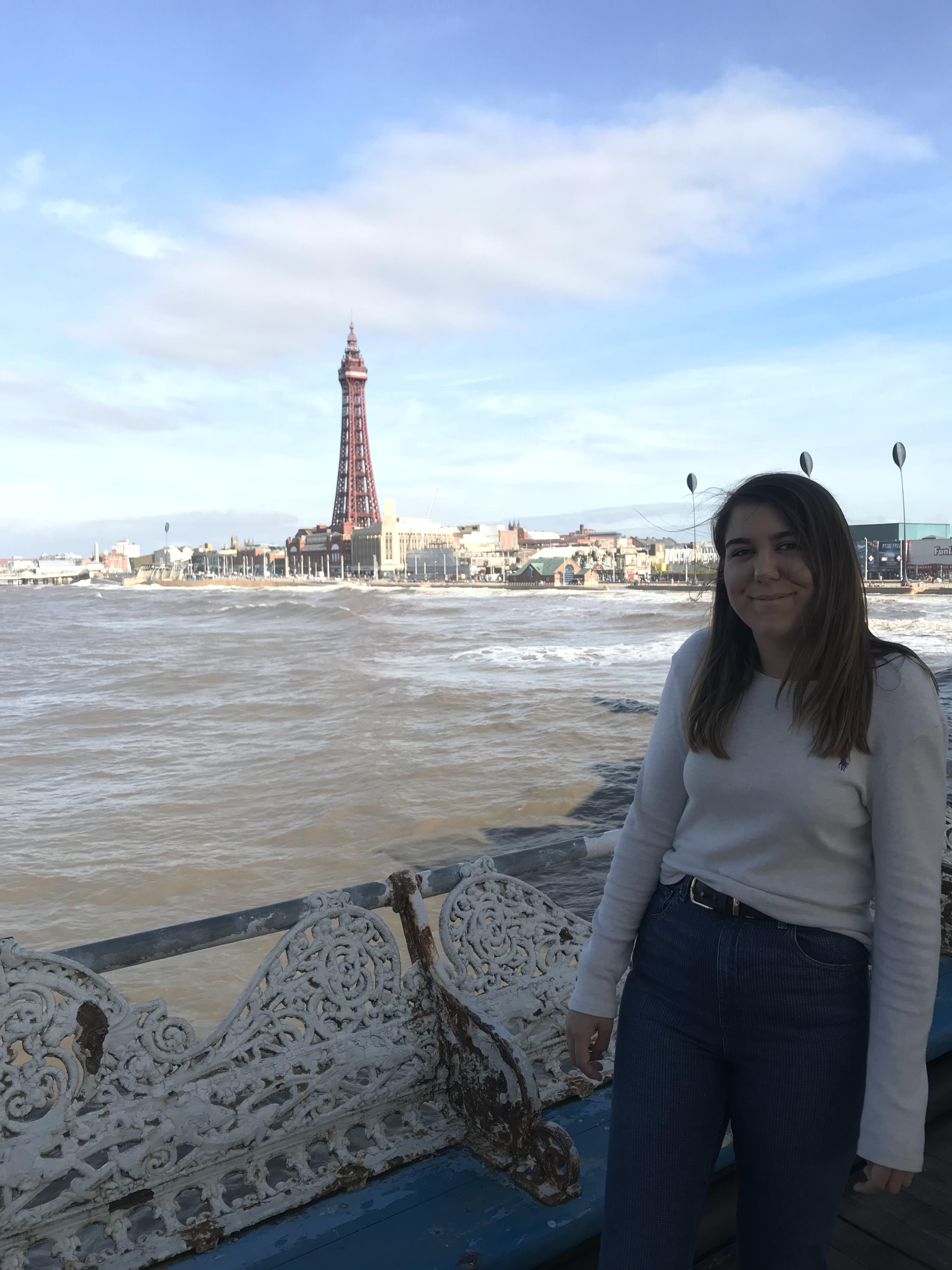 stood on a windy Blackpool pier