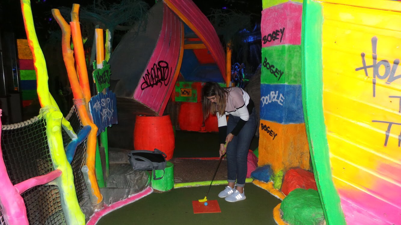 playing graffiti mini-golf in Blackpool