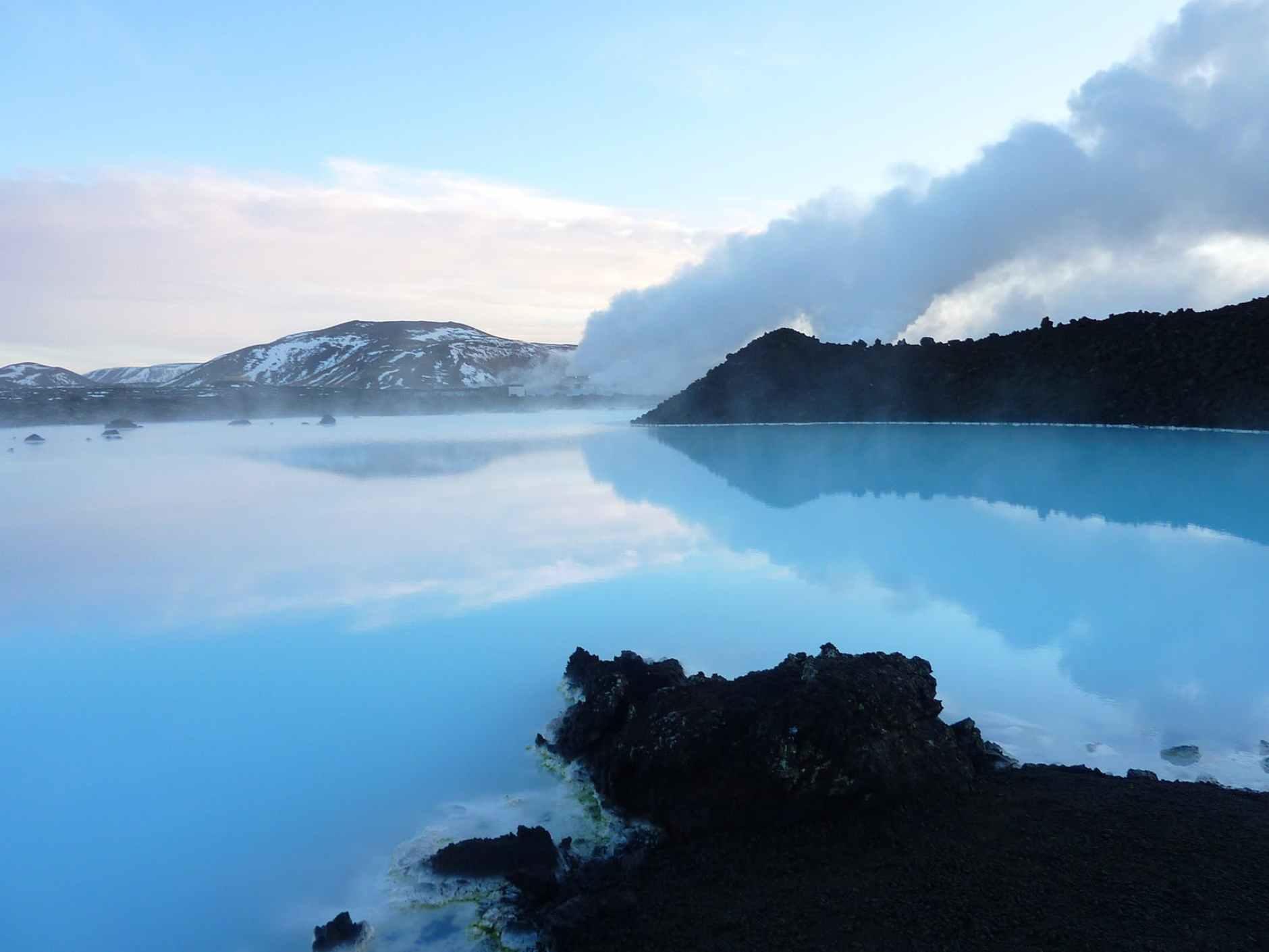 beach blue lagoon clouds dawn