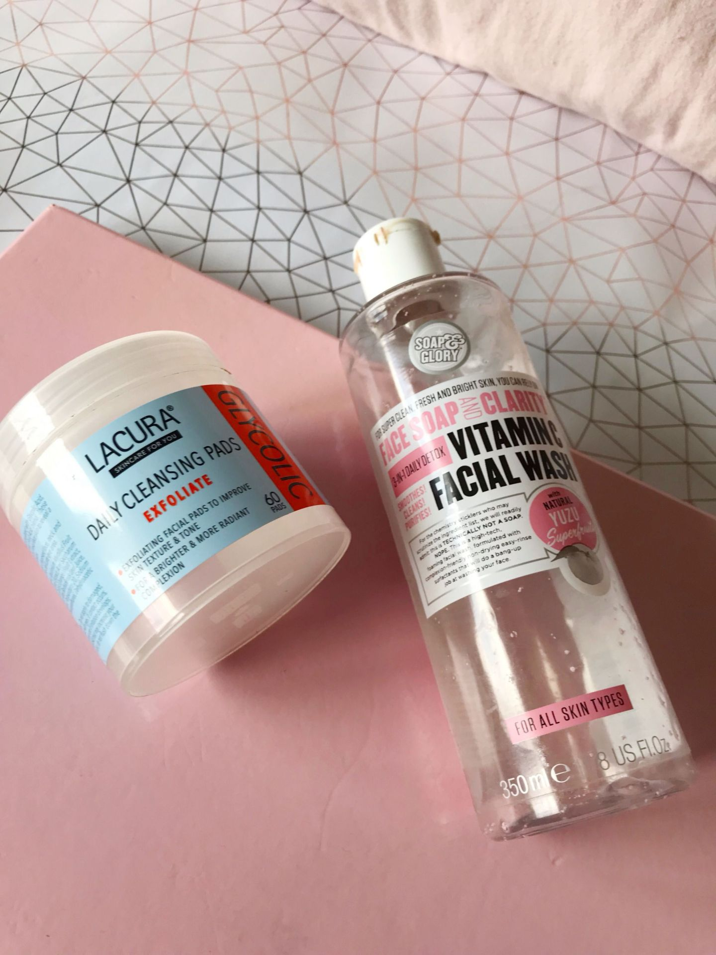 Lacura Cleansing pads and Soap and Glory Daily Wash