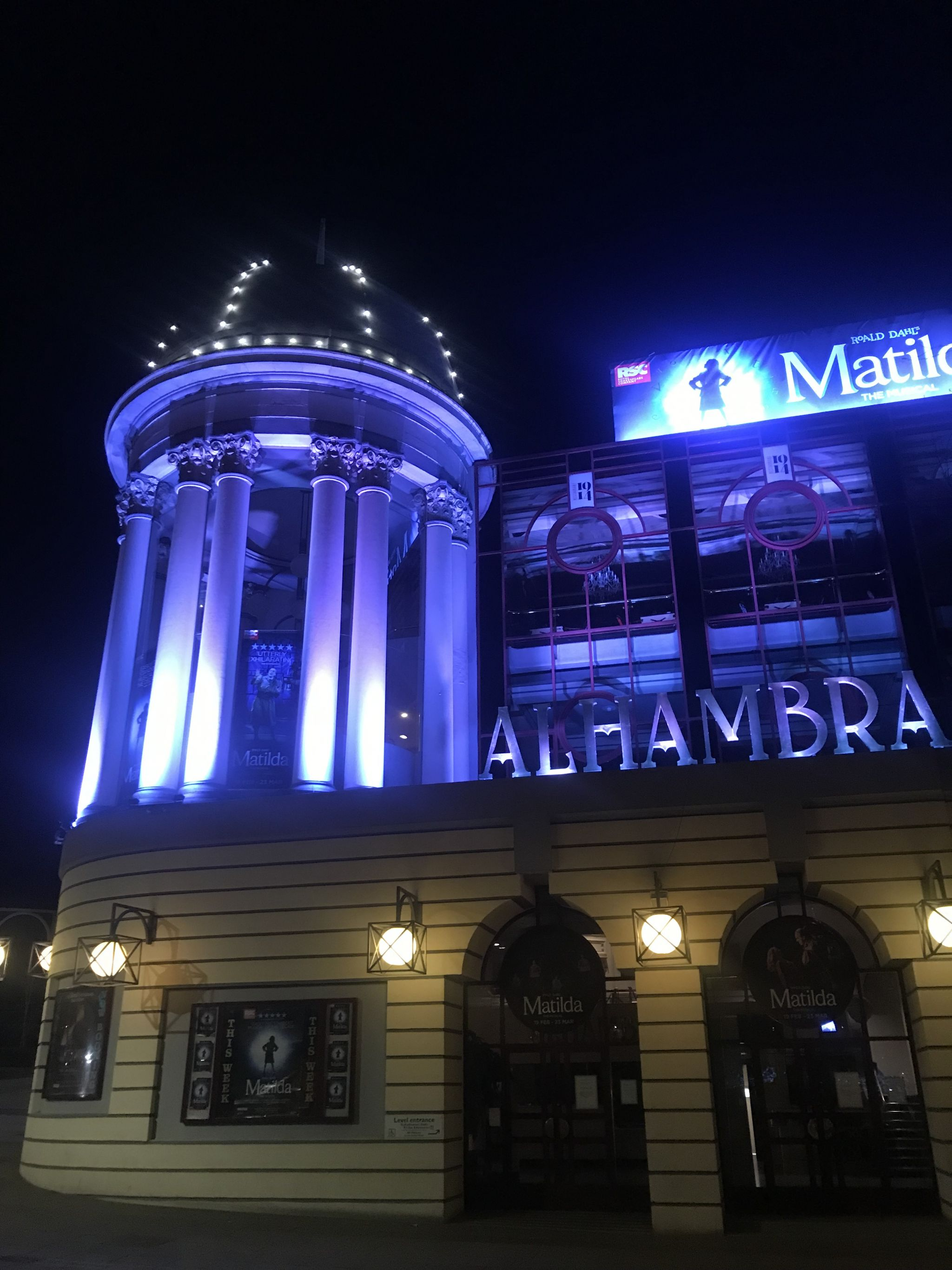 front of the Alhambra Theatre (at night)