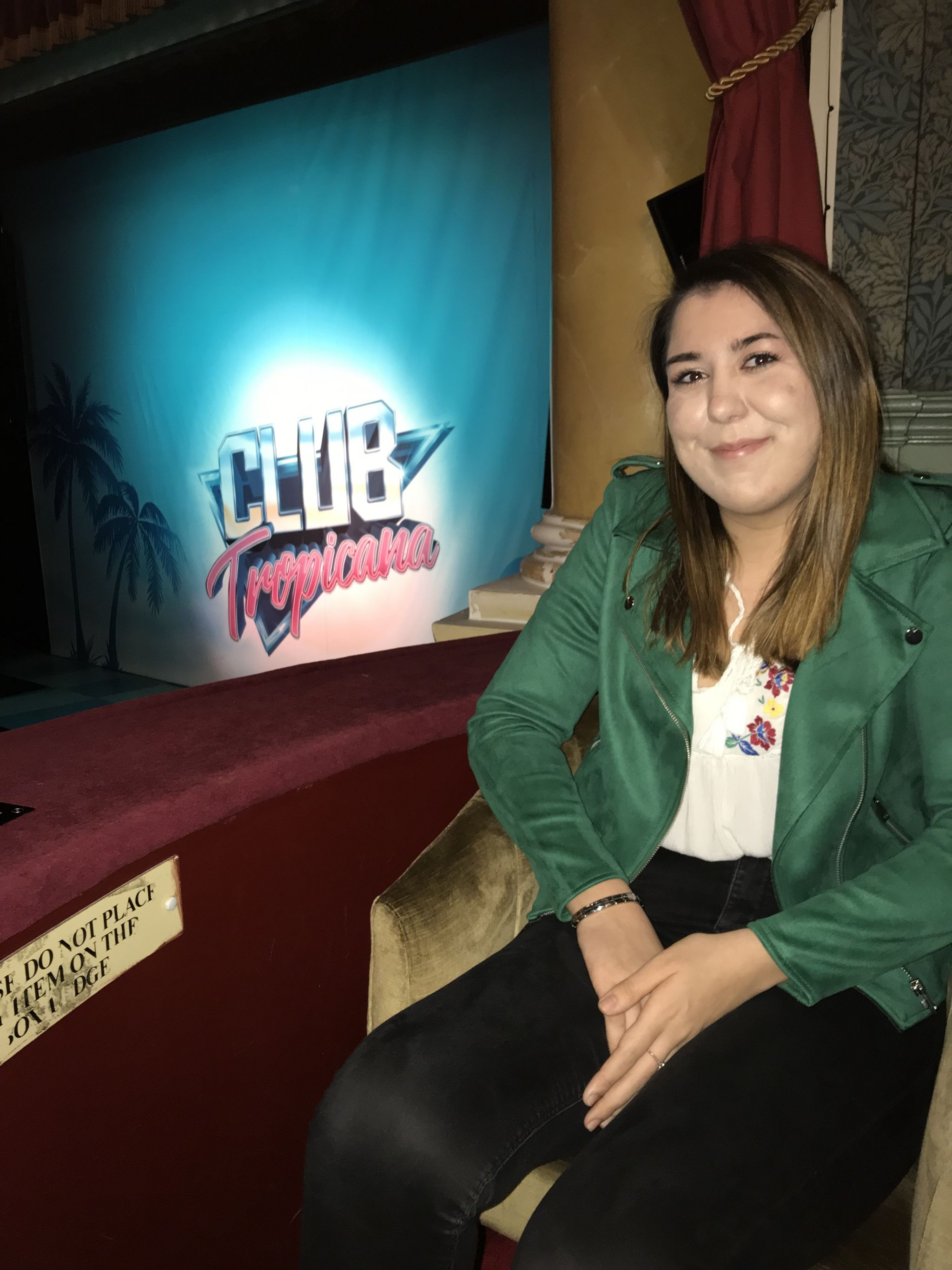 photo of me in the box at the theatre with Club Tropicana in background